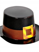 Miniature Black Plastic Top Hat with Buckle