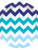 Chevron Blue Dessert Plates (8 count)