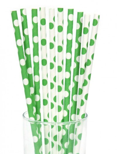 Green and White Dot Straws (10)