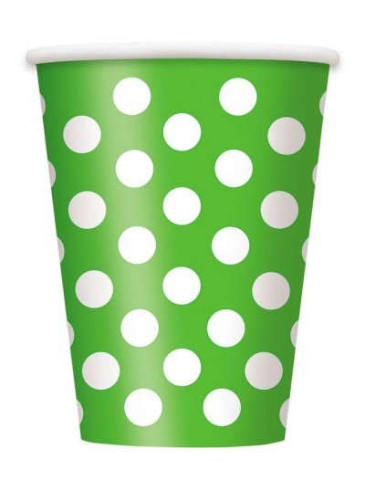 Green and White Dots 12 oz. Cups (6)