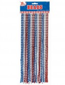 Red  White  and Blue Metallic Beads (24 count)