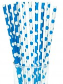 Blue and White Dots Straws (10)