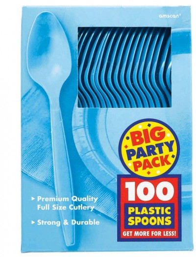 Caribbean Blue Big Party Pack - Spoons (100 count)