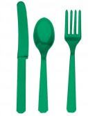 Festive Green Forks  Knives Spoons (8 each)