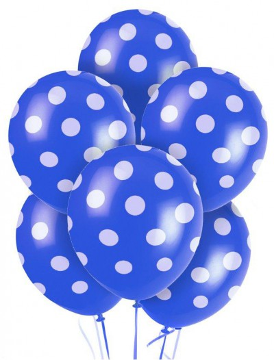 Blue and White Dots Latex Balloons (6)