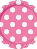Pink and White Dots Dessert Plates (8)