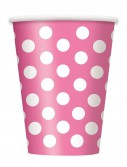 Pink and White Dots 12 oz. Cups (6)