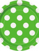 Green and White Dots Dessert Plates (8)