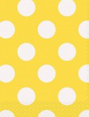 Yellow and White Dots Beverage Napkins (16)