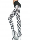 Checker Tights Black White - Adult