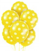 Yellow and White Dots Latex Balloons (6)