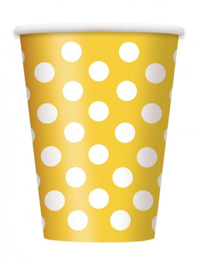 Yellow and White Dots 12 oz. Cups (6)
