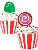 Candy Cane Stripe Cupcake Wrappers and Picks (12 count)