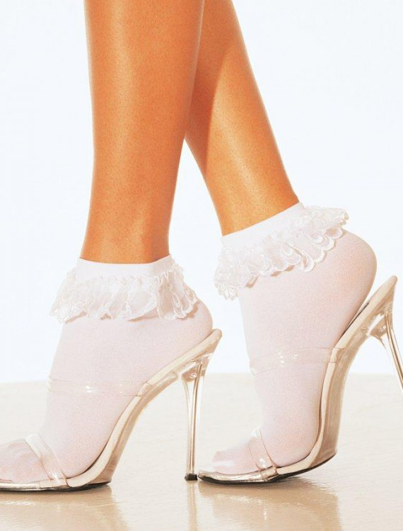 Lace Ruffle Ankle Socks White