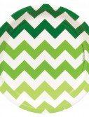 Chevron Green Dinner Plates (8 count)