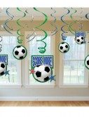 Soccer - Hanging Swirl Decorations (12 count)