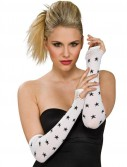 White Fingerless Gloves with Black Stars Adult