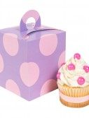 Lavendar with Pink Dots Cupcake Boxes (4 count)