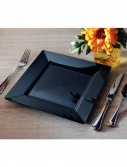 Black Square Premium Plastic Dinner Plates (10 count)