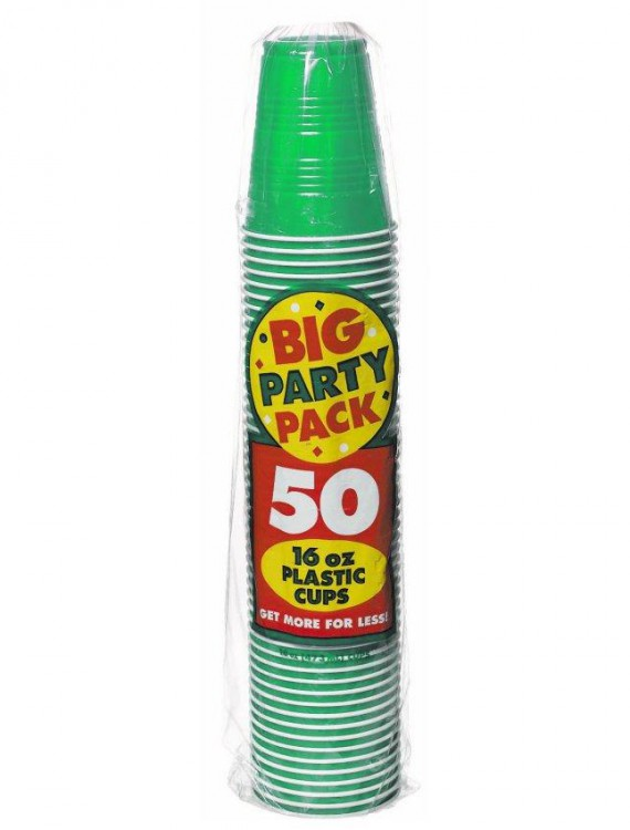 Festive Green Big Party Pack - 16 oz. Plastic Cups (50)