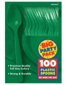 Festive Green Big Party Pack - Spoons (100 count)