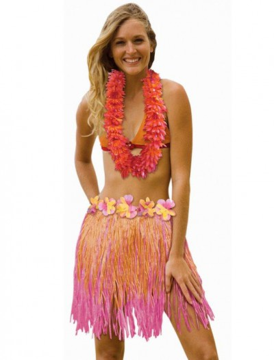 Adult 31 Two Tone Pink / Orange Hula Skirt