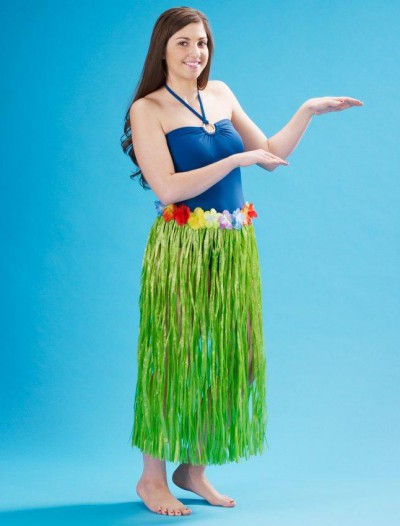 Adult 36 Artificial Green Grass Hula Skirt with Floral Waistband