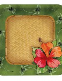 Bamboo Weave Luau Square Dinner Plates (8)