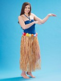 Adult 36 Artificial Natural Grass Hula Skirt with Floral Waistband