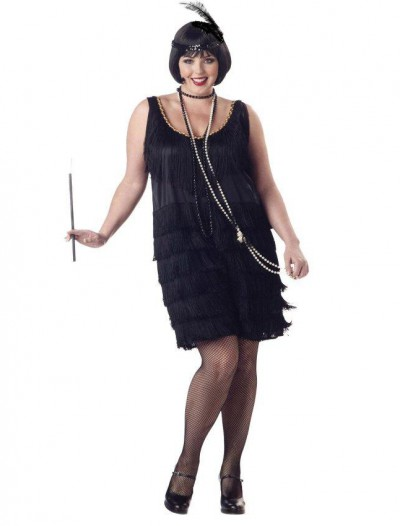 Flapper Fashion (Black) Adult Plus Costume