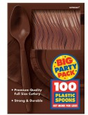 Chocolate Brown Big Party Pack - Spoons (100 count)