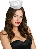 White Satin Mini Sailor Hat Adult