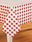 Red Gingham Printed Tablecover