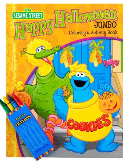 Sesame Street Halloween Jumbo Coloring Book and Crayons Set