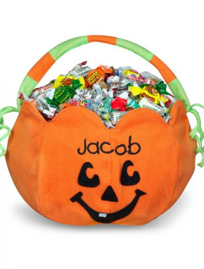 Pumpkin Embroidered Plush Treat Pail