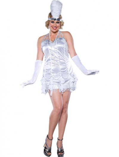 Silver Flapper Plus Size Dress Adult Costume