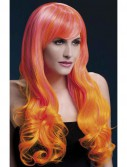 Fever Emily Trendy Long 2-Tone Pink And Orange Wig With Bangs