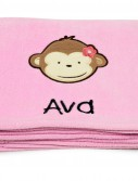 Pink Mod Monkey Applique Fleece Blanket - Embroidered