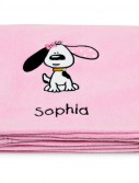 Playful Puppy Pink Applique Fleece Blanket - Embroidered
