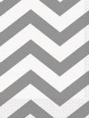Chevron Silver Beverage Napkins (16 count)