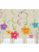 Luau Flowers Hanging Swirls Value Pack