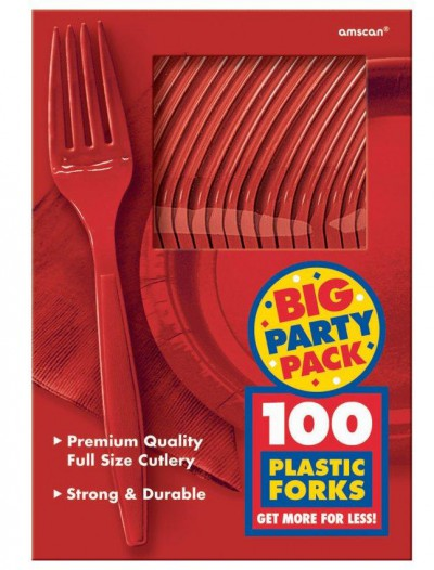Apple Red Big Party Pack - Forks (100 count)