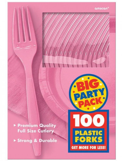 New Pink Big Party Pack - Forks (100 count)